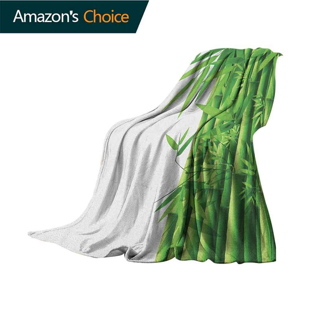 Bamboo Bed Blanket,Modern Image of Fresh Bamboo Stems Leaves with Colors Exotic Nature Themed Print Cozy Blanket for Couch Sofa Bed Beach Travel,60'' Wx70 L Green White