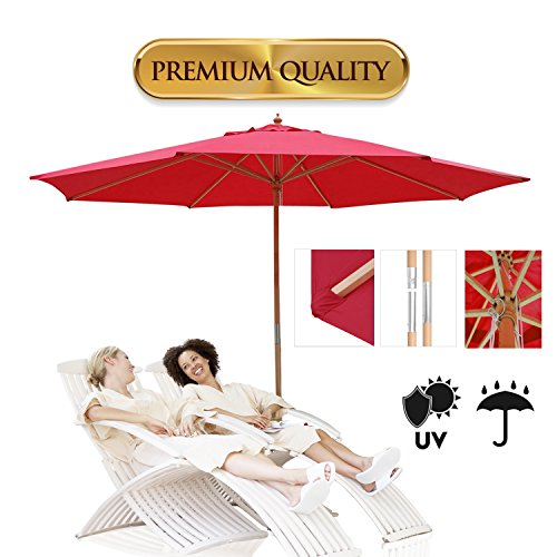 KOVAL INC. 13 Ft. Wooden Outdoor Patio Umbrella 13 FT, Red