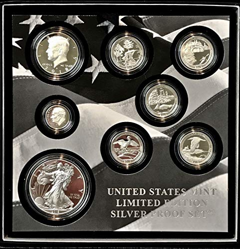 - 2018 S Limited Edition 8-Piece Silver Proof Set including Proof Silver Eagle $1 Choice DCAM with Original Packaging, Sleeve and COA US Mint