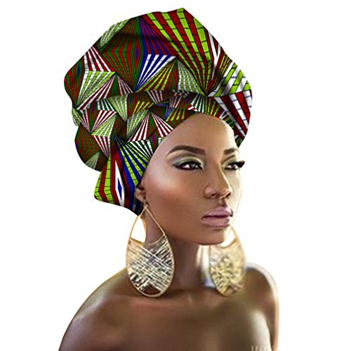 Chien Multi-Color Urban Ladies Hair Accessory Headband,Bazin Wax Print Wrap Tie Scarf, African Head Scarf Gele Ipele Extra Long 70