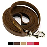 #5: Logical Leather 6 Foot Dog Leash - Best for Training - Best Water Resistant Heavy Full Grain Leather Lead - Brown