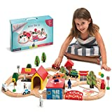 Kipipol Wooden Train Tracks Set for Kids, Toddler Boys and Girls 3, 4, 5 Years Old and Up - 69 Pieces - Premium Wood Construction Toys - Fits Thomas, Brio, IKEA, Imaginarium, Melissa and Doug