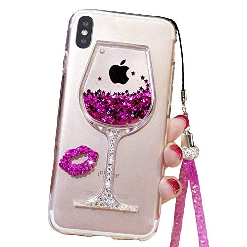 Liquid Glitter Case Compatible for iPhone Xs Max 6.5 Inch (2018), Cute Goblet Wine Glass Quicksand Flowing Floating Bling Sexy Makeup Case for Girls with Neck Lanyard (Rose, iPhone Xs Max) (Sand Glass Case)