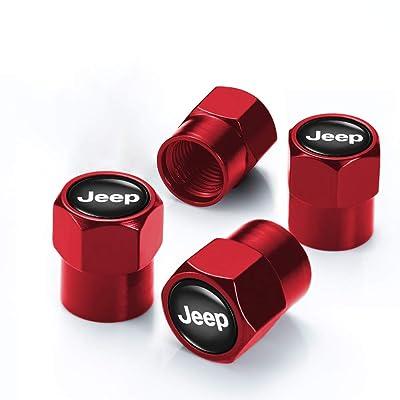 Soniubia 4Pcs Red Metal Tire Valve Stem Caps with Logo(Jeep): Automotive