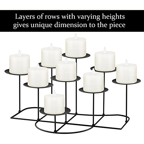 smtyle DIY 9 Mantle Candelabra Flameless or Wax Candle Holders For Fireplace with Black Iron Decoration on Desk / Floor by smtyle (Image #1)