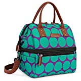 Lokass Lunch Bags for Women Wide Open Insulated Lunch Box With Double Deck Large Capacity Cooler Tote Bag With Removable Shoulder Strap Lunch Organizer For Outdoor/Work/Picnic(Blue)