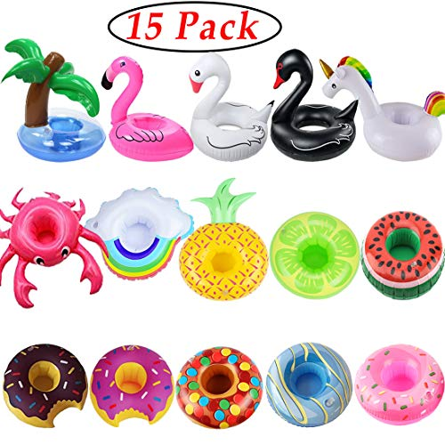 iShyan Inflatable Drink Holder, 15 Pack Drink Floats Inflatable Cup Holders Flamingo Coasters for Swimming Pool Party]()