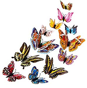 Homespun Butterfly Sticker Multi Color 12 Pieces 3D Double Layer Feather Fridge Decal Ice Box Modern Decor Gift