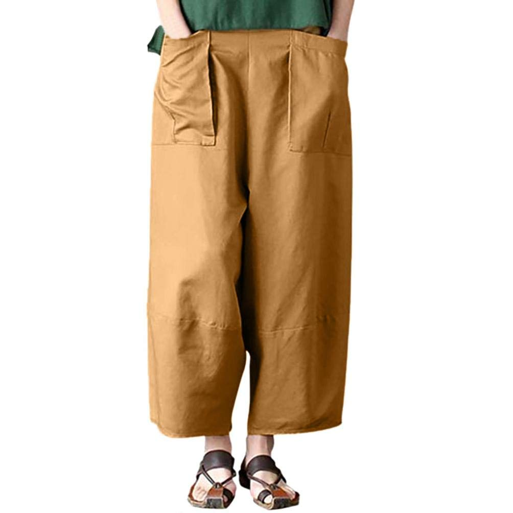 iTLOTL Women Casual Solid Pocket Linen Loose Pants Trousers Pants iTLOTL pant NO.1
