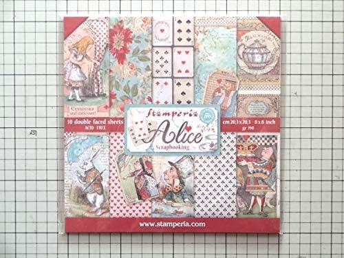 Stamperia 8インチペーパーセット Alice 不思議の国のアリス 10枚 パターンペーパー スクラップブッキング コラージュ