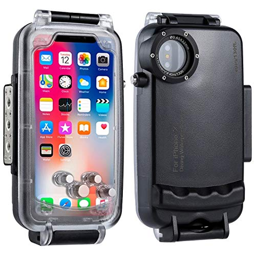 KOKOIN iPhone X/XS Diving Case, Professional [40m/130ft] Surfing Swimming Snorkeling Photo Video Waterproof Protective Case Underwater Housing for iPhone with Lanyard (Black)