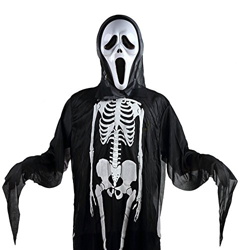 Halloween Scream Mask and Ghost Robe Costume Set, Adult, Kids (Adult sized)
