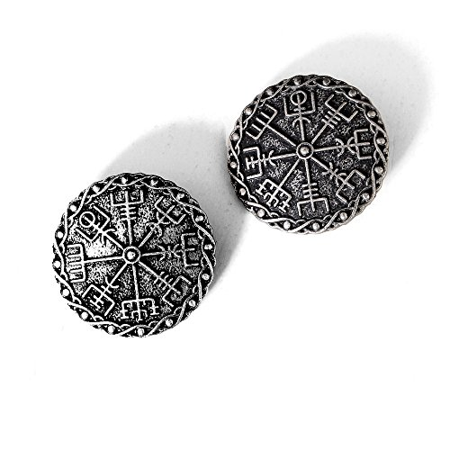 Medieval Viking Brooch Pin Set-Vintage Brooch Pin for Women Pagan Brooch Norse Viking Jewelry Pagan Amulet Brooch Wiccan Accessories Viking Round Brooch Set with Viking Rune Symbol (Brooch 01) -