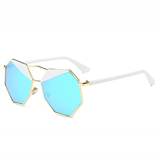 SkyWear Womens Mirrored Lens Sunglasses Vintage Design Octagon Shape Uv400  Sunglasses (Blue Lens Gold Frame 9d611c722c