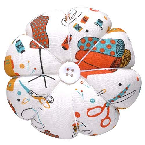 Cushion Polka - eZAKKA Wrist Pin Cushion Polka Pumpkin Wrist Band Pin Cushions Wearable Needle Pincushions for Sewing (Sewing Necessities Pattern White)