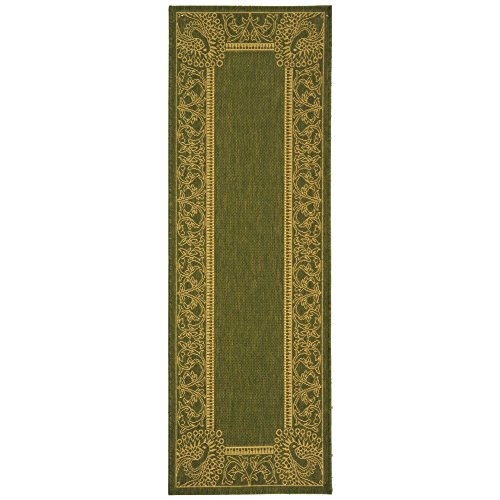 Safavieh Courtyard Collection CY2965-1E06 Olive and Natural Indoor/Outdoor Runner (2'3