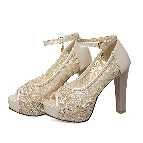 Tacones Sandalias Summer tamaño de Mesh PU Blanco Zapatos Sexy Color 2018 Beige Fish Heel Chunky Waterproof 42 Coarse Ladies Mouth Beige with Negro High Mujer Comfort For Taels wYnwFR