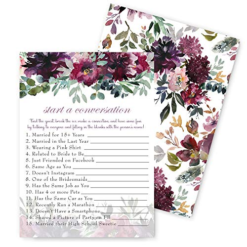 Shabby Floral Bridal Shower Game - Find the Guest - 25 Pack