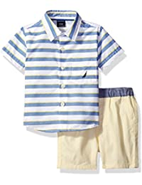 Nautica Boys' Short Sleeve Striped Button Down Shirts and Ministripe Flat Front Short Set