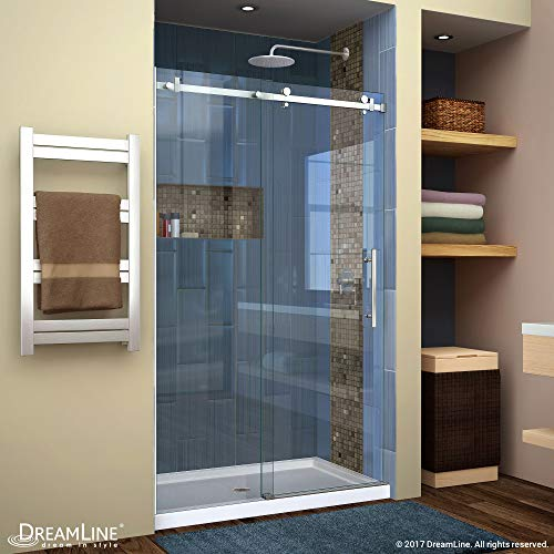 DreamLine Enigma Air 44-48 in. W x 76 in. H Frameless Sliding Shower Door in Brushed Stainless Steel, SHDR-64487610-07 (Stainless Steel U Channel For 10mm Glass)