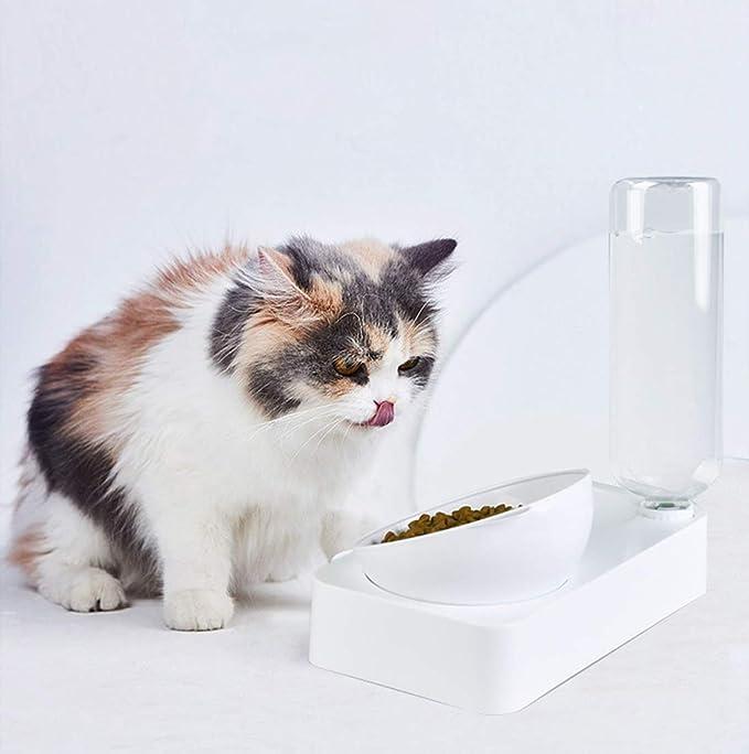 N / A Dispensador De Agua De La Cuenca del Perro De Agua Comida para Gatos Alimentador Doble Tazones De Las Mascotas Conjunto Automático Tazón Alimentos para Gatos Y Perros Pequeños Medium / 15 °
