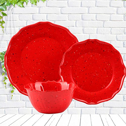 Dinnerware Plates and Bowls Set - Yinshine Melamine 12 Pcs Dishware Service for 4, Red