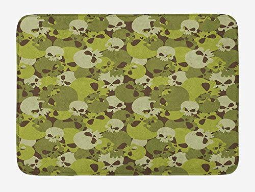 CHJOO Door Mats Camo Bath Mat, Composition of Skulls Scary Head Skeletons Graphic Grunge Illustration, Plush Bathroom Decor Mat with Non Slip Backing, 23.6 W X 15.7 W Inches, Green Pale Green Beige ()