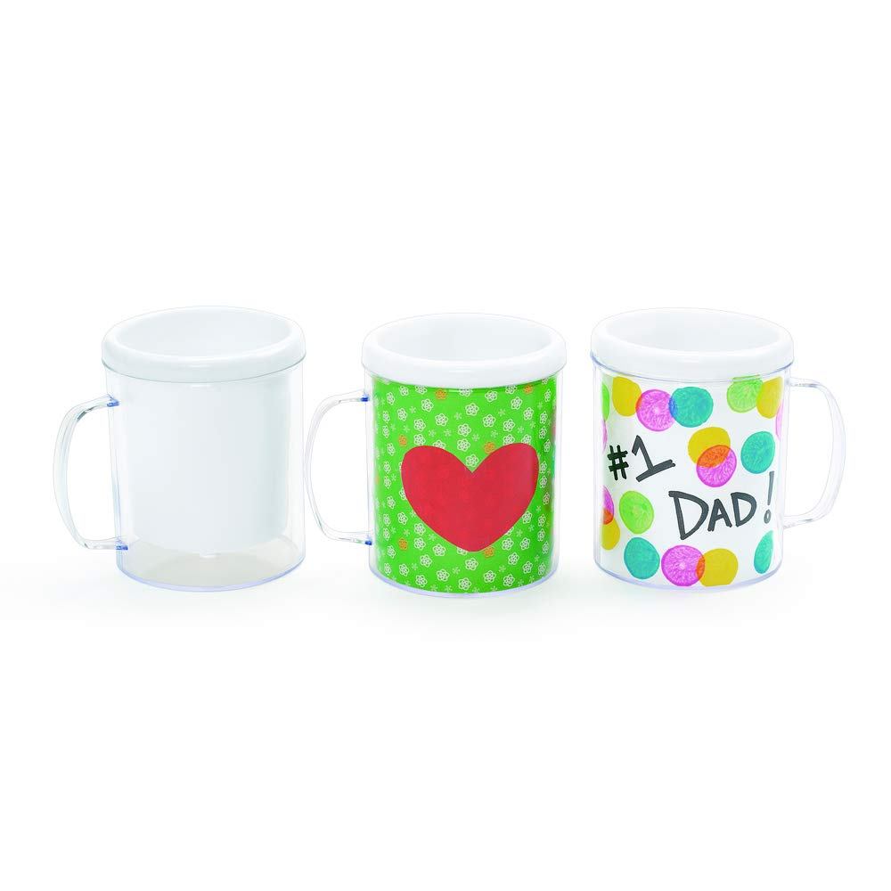 Colorations Decorate Your Own Plastic Mugs, Set of 12, for Kids, Gifts, Mother's Day, Father's Day, Arts & Crafts, Craft Project, Personalization,