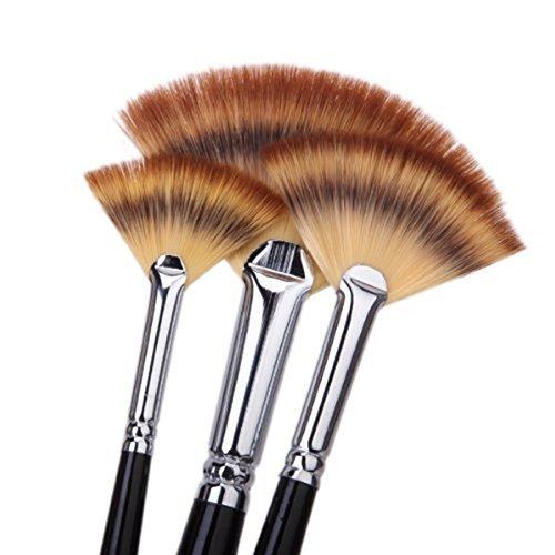 Paint Brush Set Artist Fan Brush Wood Long Hands Painting Brush Set for Oil Paint Acrylic Paint 6 PCS (Oil Fan Paint Brush)