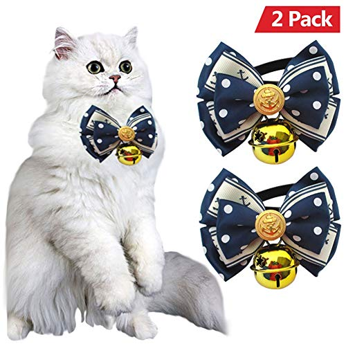 Ring Girth Detachable (AOFITEE Dog/Cat Bowtie Collar with Polka Dot and Anchor Print, Pack of 2 Adjustable Pet Collar with Bell for Small, Medium and Large Dogs)