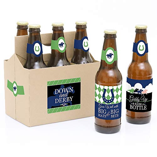 Kentucky Horse Derby - Horse Race Party Decorations for Women and Men - 6 Beer Bottle Label Stickers and 1 Carrier