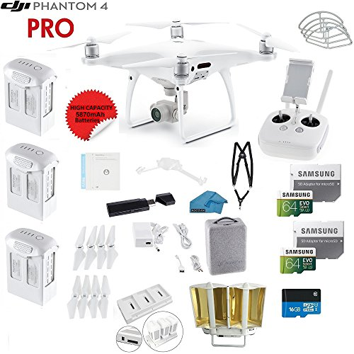 DJI Phantom 4 PRO Quadcopter Drone with 1-inch 20MP 4K Camera KIT + 3 Total DJI Batteries + 2 64GB Micro SDXC Cards + Reader + Snap on Prop Guards + Range Extender + Charging Hub + Remote Harness by DJI