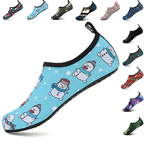VIFUUR Unisex Quick Drying Aqua Water Shoes Pool Beach Yoga Exercise Shoes for Men Women Snowman 40-41 ()