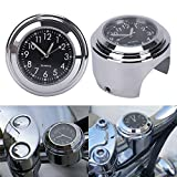 FidgetGear 7/8'' 1'' Waterproof Motorcycle Handlebar Mount Black Dial Clock & Thermometer Temp