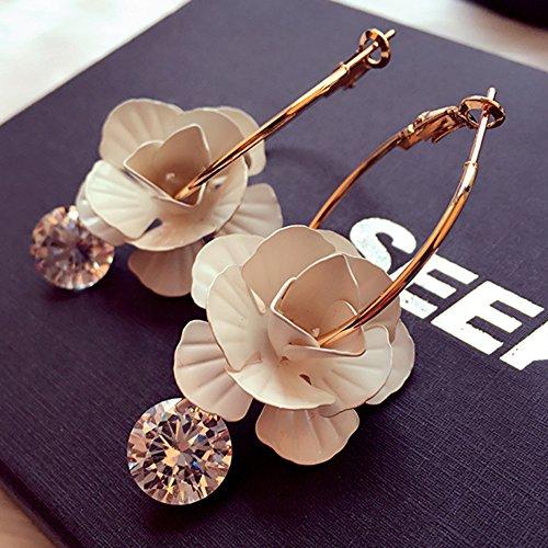 KAKA(TM Women Girl Stylish Special Design Flower Pattern Rhinestone Beauty Earing Accessories ()