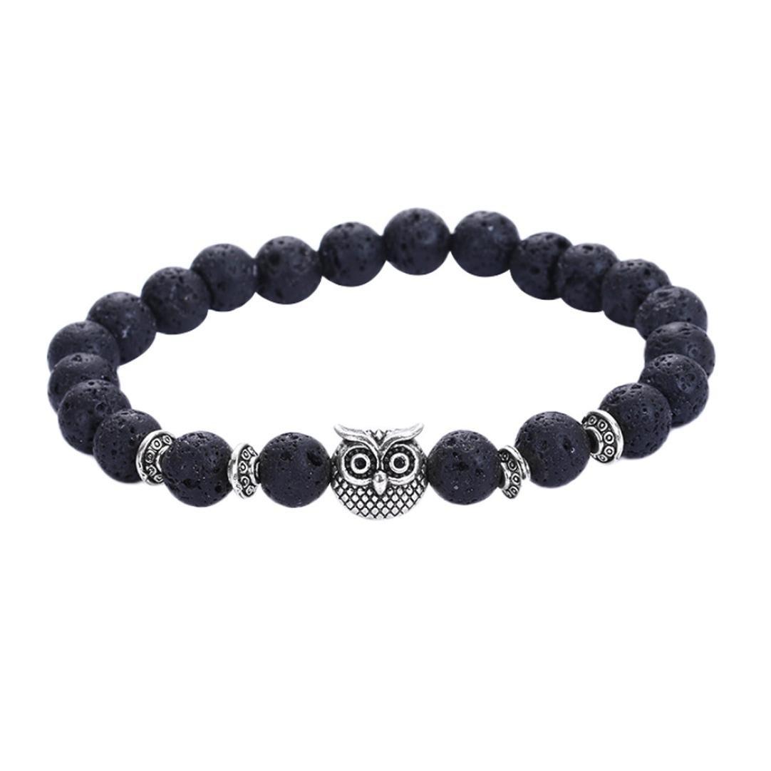BCDshop Lava Stone Bead Bracelets Volcanic Silver Owl Wristband Men Women Charm Bracelet (Black, NA)