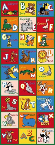 Kids / Baby Room / Daycare / Classroom / Playroom Area Rug. Alphabet Animals. Zoo. Educational. Fun. Non-Slip Gel Back. Bright Colorful Vibrant Colors (2 Feet X 7 Feet Runner) ()