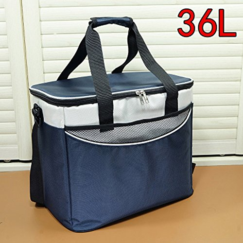 QIHANGCHEPIN 36L Auto Reise oder Picknick Eisbeutel Hohe Kapazität Echt Auto Mittagessen Kühlschrank Tasche Kühlschrank Blau (Farbe   Marine)