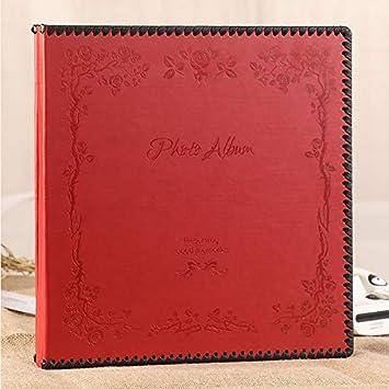M&QSPS Lujo Cuero Vintage Grande Memoria Autoadhesiva Libro De Visitas, Regalo Para Recién Nacidos Día De San Valentín Regalo De Acción De Gracias De Navidad, 35 * 34.5 * 5 Cm (Rojo)