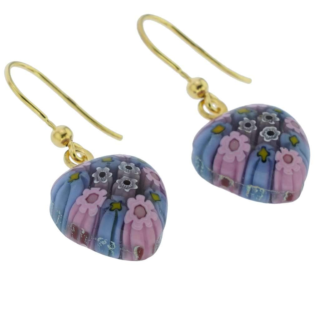 Gold GlassOfVenice Murano Glass Millefiori Heart Earrings