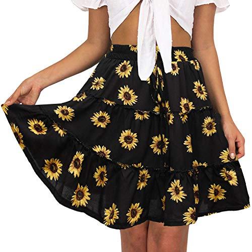 Women's Floral High Waist Drawstring Ruffle Flared Boho A-Line Pleated Skater Mini Skirt (Black Sunflower, -