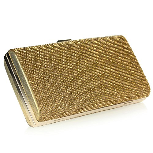 Mujer Señoras Rhinestones Noche Boda Nupcial Fiesta Paseo Diamante Bolsa de mano Bolso de embrague Oro
