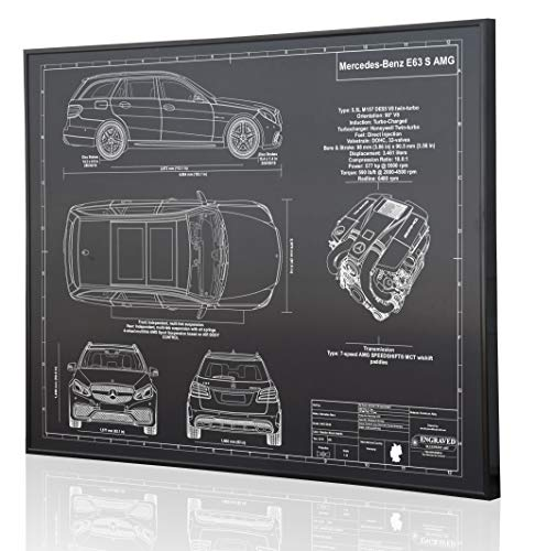 E63 Amg Wagon - Mercedes-Benz E63 S AMG Wagon Blueprint Artwork-Laser Marked & Personalized-The Perfect Mercedes-Benz Gifts
