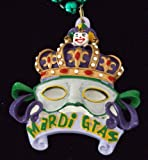 world beads - Crown with Gray Mask Bead Necklace New Orleans Mardi Gras Spring Break Cajun Carnival Festival