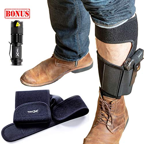 TacX Pro Gear Ankle Holster for Concealed Carry Pistol Bundle | Bonus LED TacLight | Sewn-in Magazine Pouch | Glock 42,43,26,19, S&W M&P Shield,Bodyguard .380.38,Ruger LCP,LC9,Sig Sauer (Package) (Glock 19 Remora Holster)