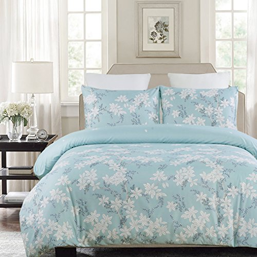 Vaulia Lightweight Microfiber Duvet Cover Set, Print Floral Pattern Design, Blue - King Size