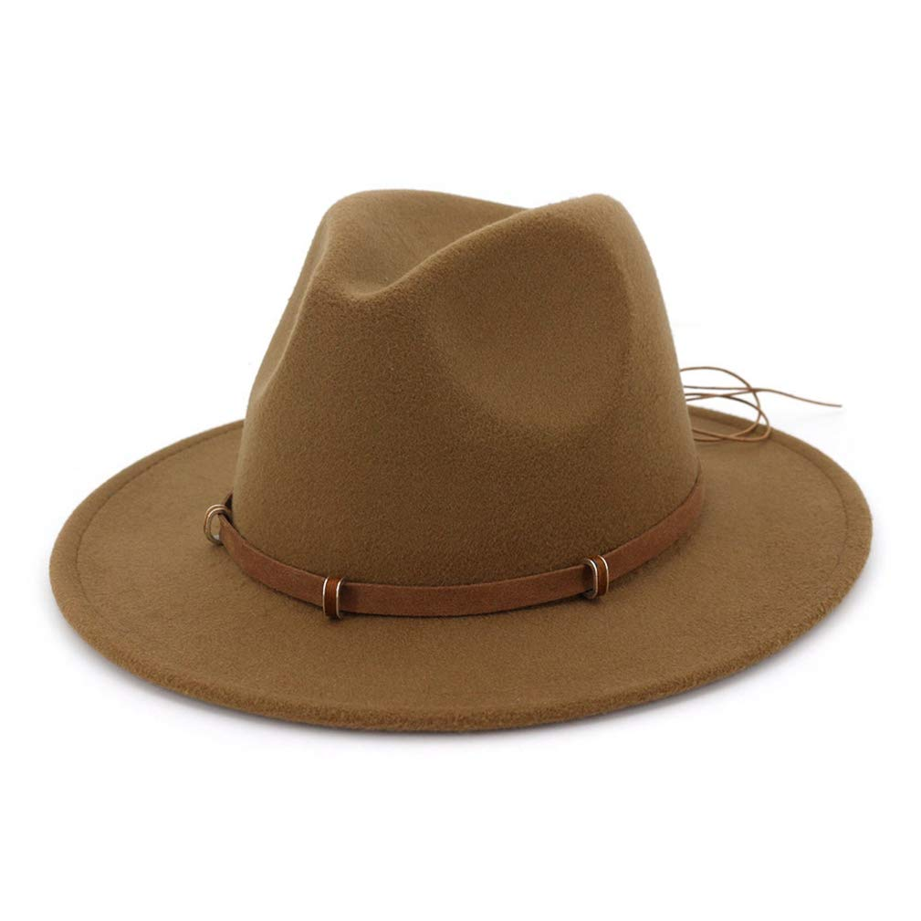 Cotton Fedora Hat Men Autumn Vintage Felt Top Cap Wide Brim Winter Hats for Women Elegant with Leather Belt