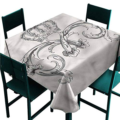 DONEECKL Antifouling Tablecloth Medieval Royal Crown King Queen Washable Tablecloth W60 xL60 ()