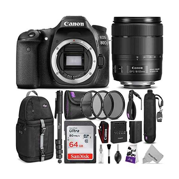 518QYSnlUBL. SS600  - Canon EOS 80D DSLR Camera and Canon EF-S 18-135mm f/3.5-5.6 is USM Lens with Altura Photo Complete Accessory and Travel…