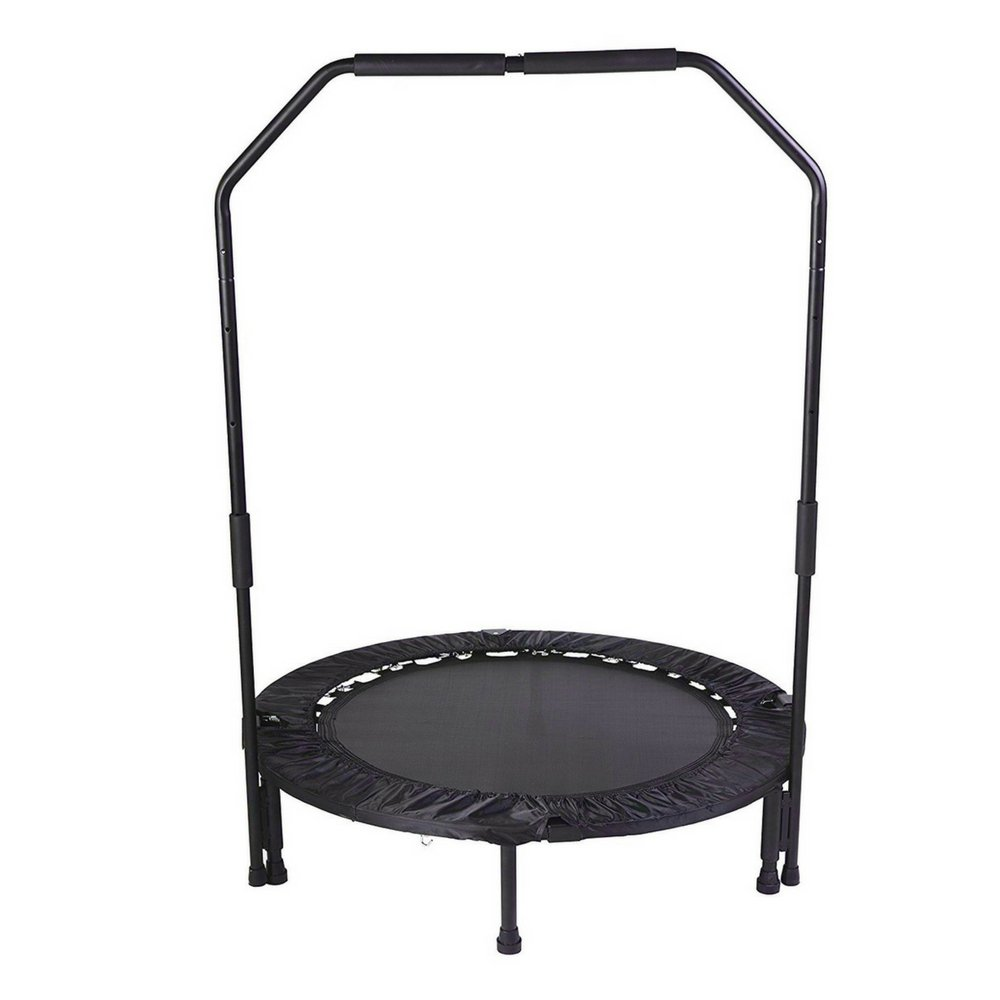 Mini Trampoline with Handle Bar Foldable Fitness Urban Rebounder Bouncing Exercise Body Workout Safe and Fun for Home Gym Park Easy Carry Storage Bag Burn Calories Lose Weight & eBook by BADA shop